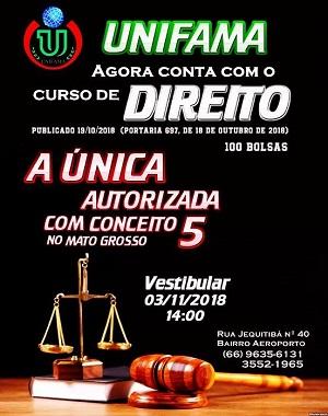 Unifama divulga mais dois novos cursos no Diário Oficial da União:Direito, nota 5, Odontologia, nota 4